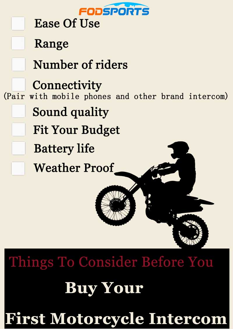 Checklist of factors that should be considered when buying a motorcycle intercom