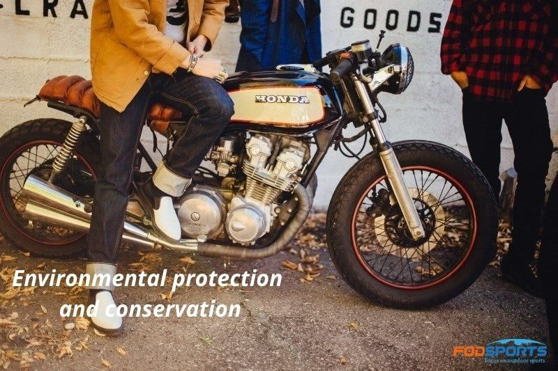 Environmental protection and conservation with a motorcycle