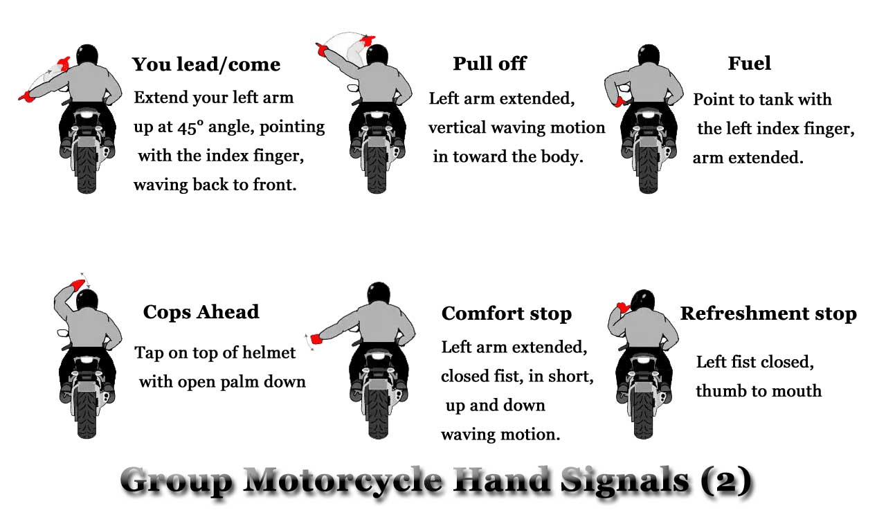 Group Motorcycle hand Signals