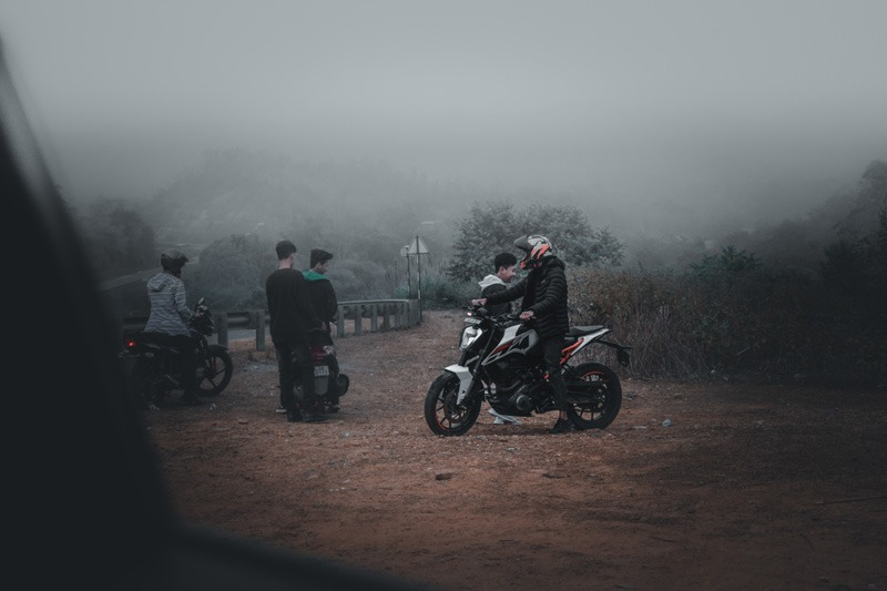 Riding Motorcycle In the fog