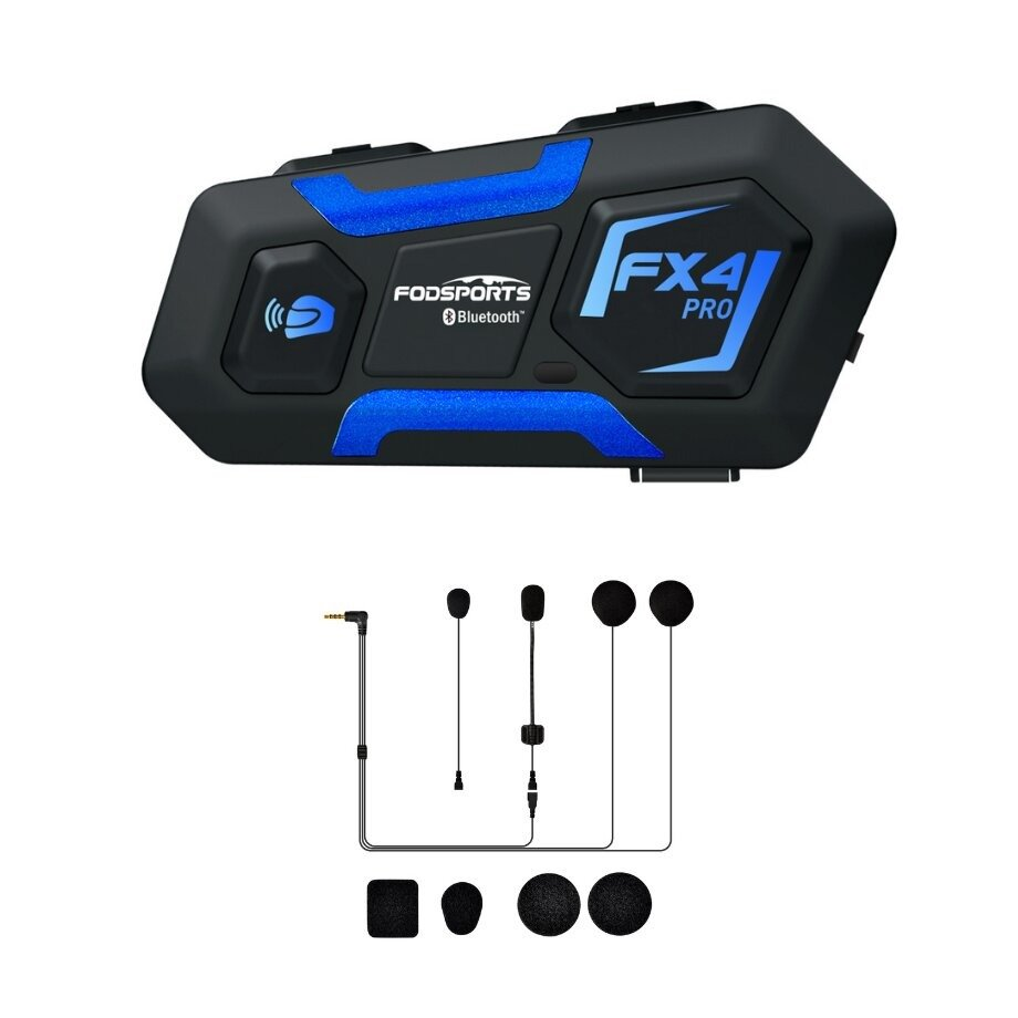 Fodsports FX4 Pro motorcycle intercom with accessories