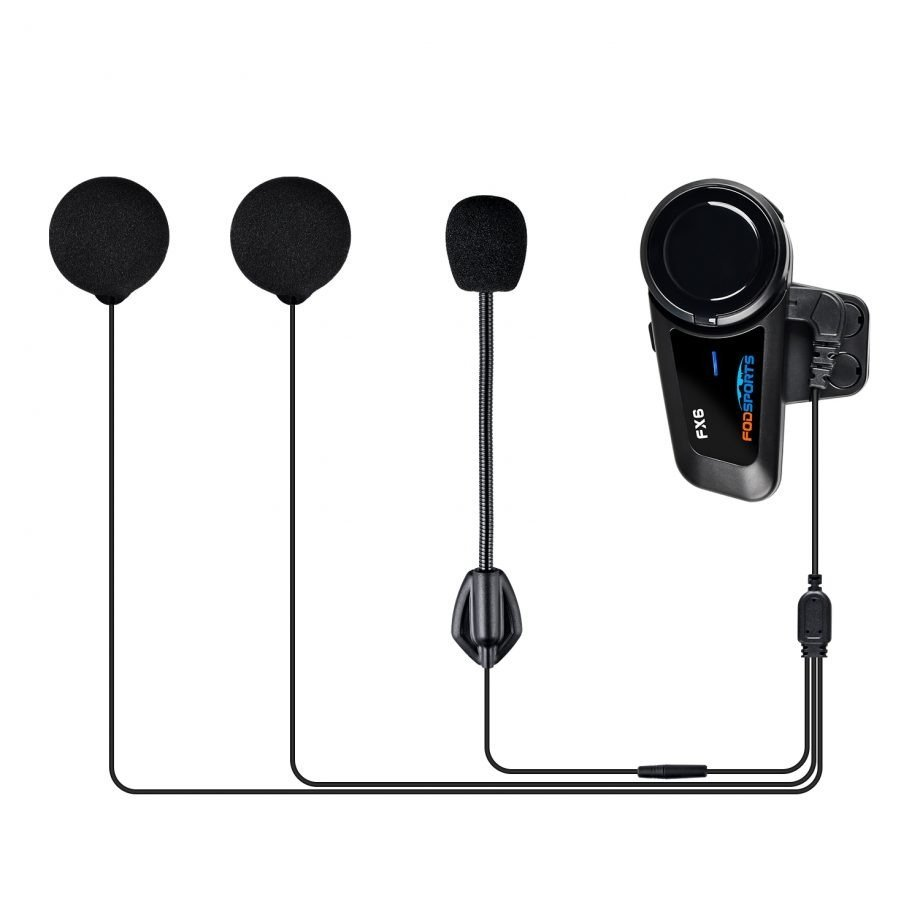 Fodsports FX6 Pro motorcycle intercom with accessories