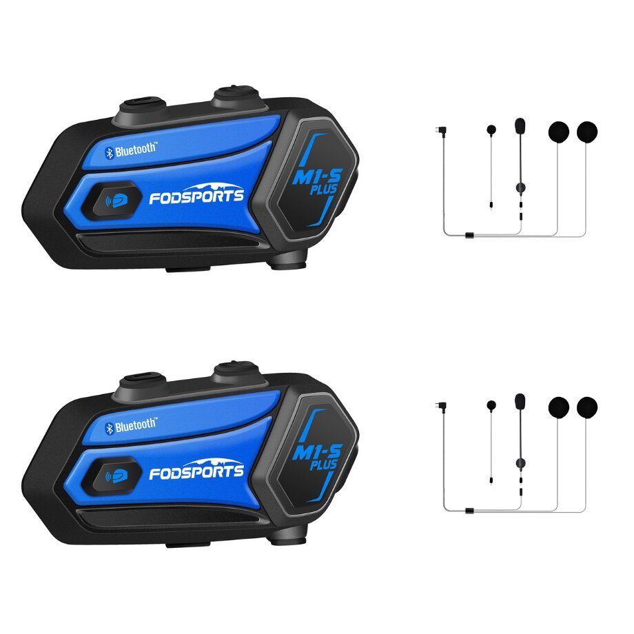 Fodsports M1S plus motorcycle intercom Blue-2-Pack with accessories