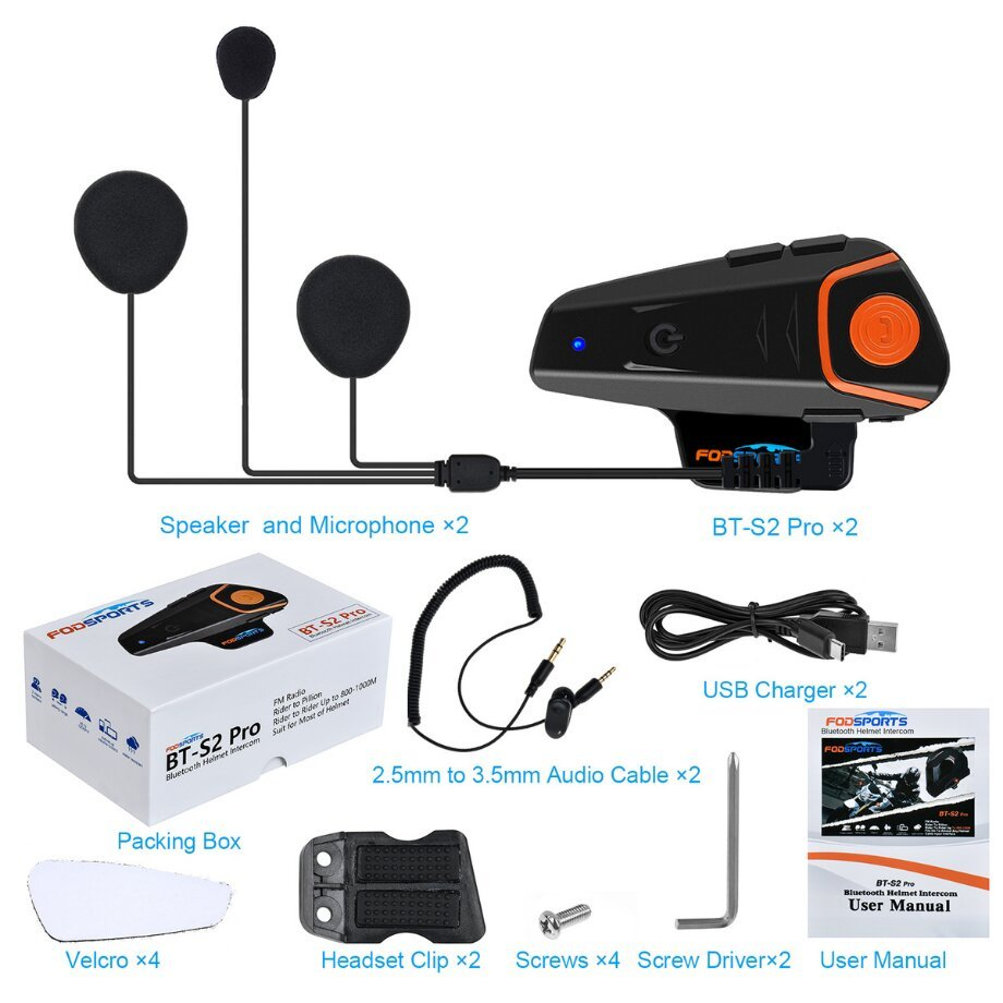 Fodsports BT-S2 Pro motorcycle intercom dual-packs what's in the box